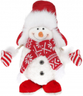 """Новорічна м'яка іграшка """"Сніговик в шапці-вушанці"""" 37см"""