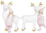"""Набір 2 статуетки """"Дівчинка з Оленем"""" 11х3х14см, тіффані"""
