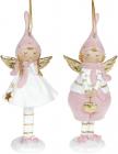 "Набор 2 статуэтки-подвески ""Ангел в Мечтах"" 6.5х4х16.5см, розовый"