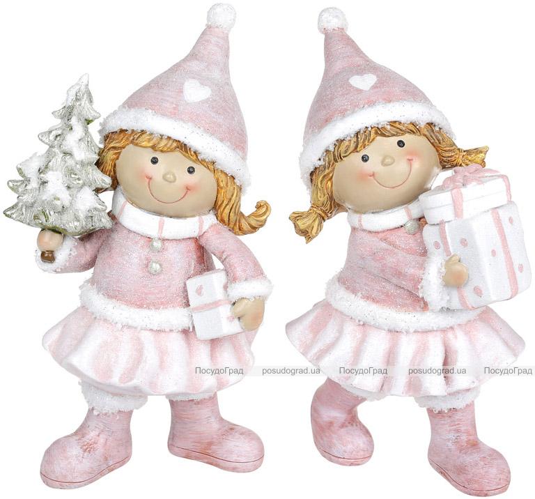 """Набір 2 статуетки """"Дівчатко з Подарунками"""" 6х5.5х19см, тіффані"""