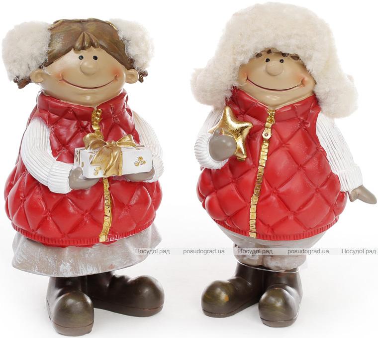 """Набор 2 декоративных фигурки """"Детки с подарками"""" 20см"""