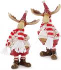 """Набір 2 декоративні фігурки """"Лосі в червоних шапках"""" 8х5х14см"""