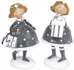 """Набір 2 статуетки """"Дівчатко з Подарунками"""" 15.5х12см, графіт"""