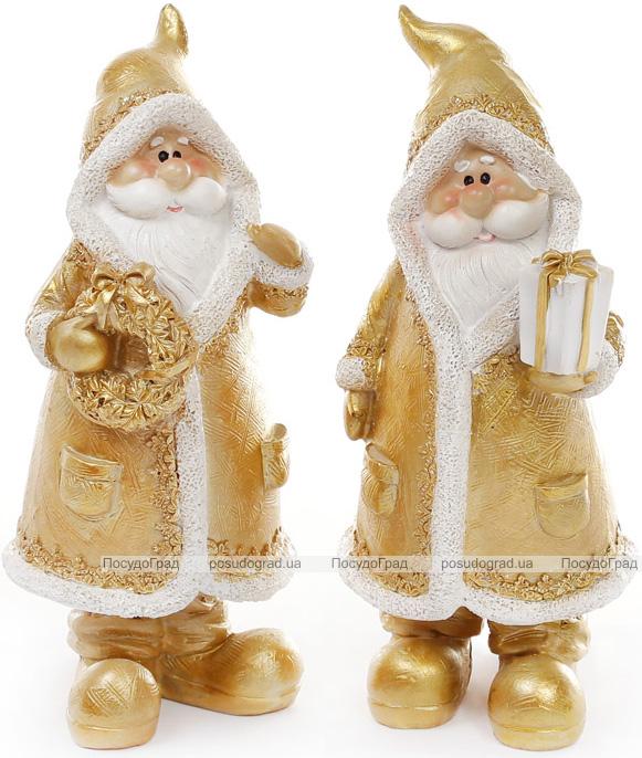 """Фигурка декоративная """"Санта Клаус в золотом с подарком"""" 18см"""