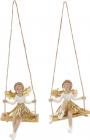"""Набор 2 декоративные фигурки-подвески """"Золотая Фея на качелях"""" 10.5см"""