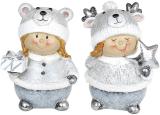 """Набір 2 статуетки """"Дівчатко в шапці-мішутка"""" 9.5х7х13см, срібло"""