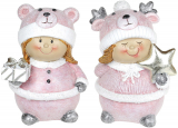 """Набір 2 статуетки """"Дівчатко в шапці-мішутка"""" 9.5х7х13см, рожевий"""