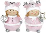 """Набор 2 статуэтки """"Девчонка в шапке-мишутке"""" 9.5х7х13см, розовый"""