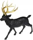 Фігура декоративна «Олень з золотими рогами» 39х18х39см, чорний з глітером