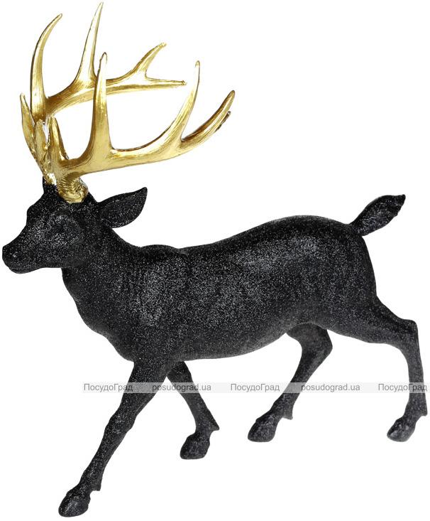 Фигура декоративная «Олень с золотыми рогами» 39х18х39см, черный с глиттером