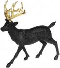 Статуетка декоративна «Олень з золотими рогами» 23х8х24см, чорний з глітером