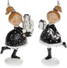 """Набір 2 статуетки-підвіски """"Дівчатко з Подарунками"""" 9.5х5х11.5см, чорний з білим"""