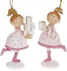 """Набір 2 статуетки-підвіски """"Дівчатко з Подарунками"""" 9.5х5х11.5см, рожевий"""