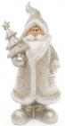 Фигурка декоративная Санта Клаус в серебряном с елкой 22.5см