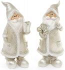"""Фігурка декоративна """"Санта Клаус в срібному з подарунком"""" 18см"""