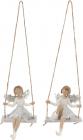"""Набор 2 декоративные фигурки-подвески """"Серебряная Фея на качелях"""" 10.5см"""