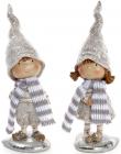 """Набір 2 декоративних фігурки """"Дітки в шарфиках"""" 6.5х5.5х20см, шампань"""