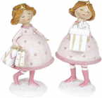 """Набір 2 статуетки-підвіски """"Дівчатко з Подарунками"""" 15.5х12см, рожевий"""