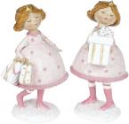 """Набор 2 статуэтки-подвески """"Девчонка с Подарками"""" 15.5х12см, розовый"""