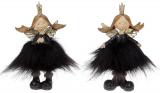 """Набір 2 статуетки-підвіски """"Янголятко в хутряній спідниці"""" 10х7х16.5см, чорний"""