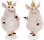 """Набір 2 декоративних фігурки """"Королівські свинки"""" 9х9х17см"""