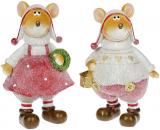 """Набор 2 декоративных фигурки """"Блестящие мышата"""" в розовом 18см"""