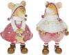 """Набор 2 декоративных фигурки """"Блестящие мышата"""" в розовом 11.5см"""