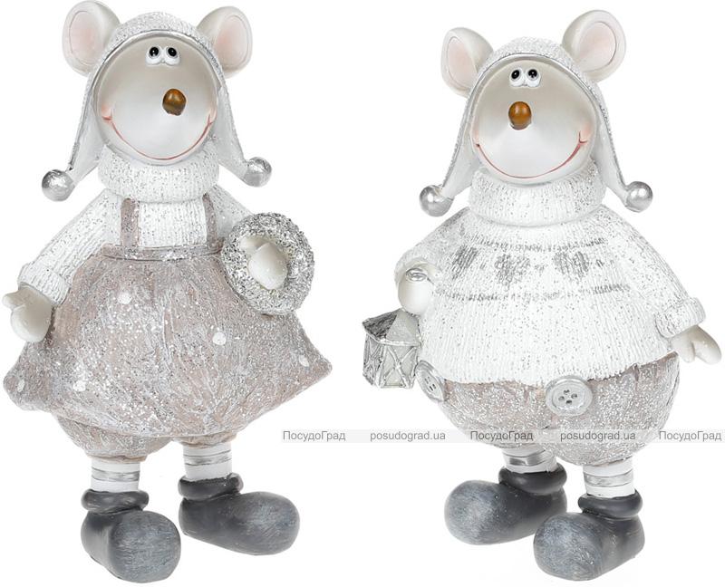 """Декоративная фигурка """"Блестящие мышата"""" в серебристом 18см"""