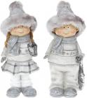 Набір 2 декоративні фігурки Діти в хутряних шапках, 19см