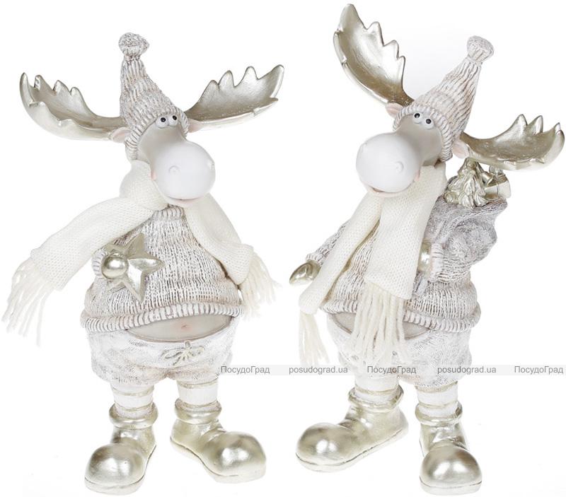 """Декоративная статуэтка """"Лось в белом костюме"""" 30см"""