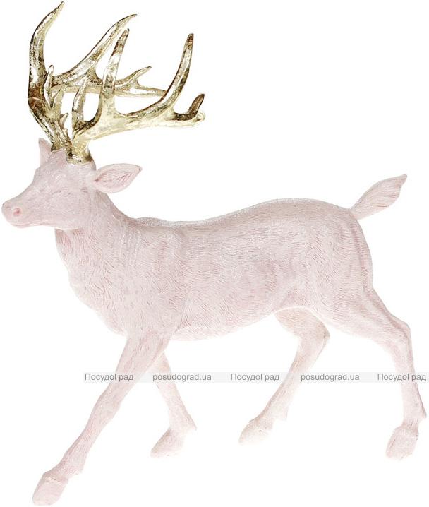 Статуетка декоративна «Олень з золотими рогами» 23х8х24см, рожевий