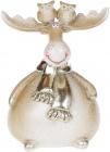 """Фігурка декоративна """"Лось з совушками"""" 13см, шампань"""