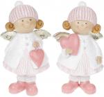 """Набор 2 декоративные фигурки """"Ангелочки с розовыми сердечками"""" 17см"""