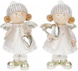 """Набор 2 декоративные фигурки """"Ангелочки с серебристыми сердечками"""" 17см"""