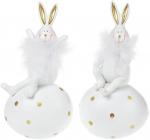 Набір 2 статуетки «Зайчик на яйці» 7.5х6х14см, полістоун