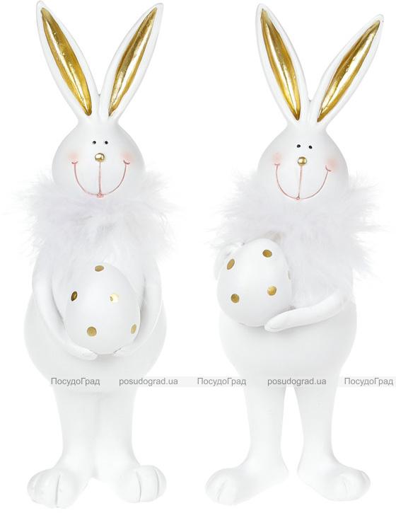 Набір 2 статуетки «Зайчик з яйцем» 7х5х19см, полістоун