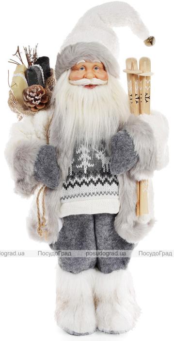 """Новогодняя игрушка """"Санта Клаус"""" 46см, в сером (110)"""