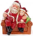 """Новогодняя керамическая декоративная фигурка """"Санта с мальчиком"""" 20см"""