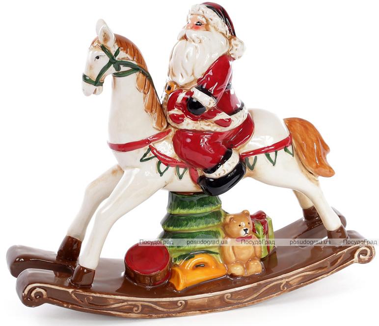 """Новорічна статуетка """"Санта на конячці-гойдалці"""" 31.2х9х26.5см"""