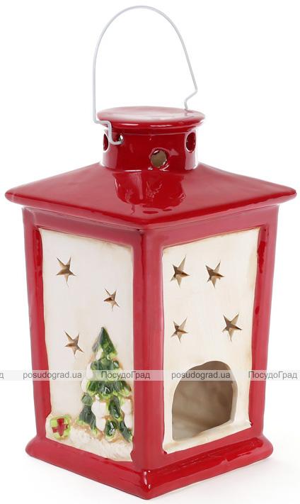 """Новорічний декоративний ліхтарик """"Тріо сніговиків"""" 13.9х13.6х23.1см"""