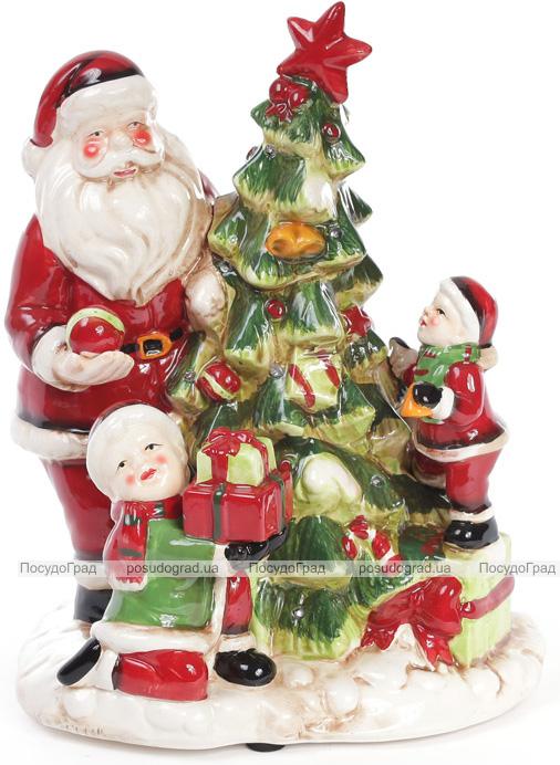 """Декоративная музыкальная статуэтка """"Санта у елки"""" 28см с LED-подсветкой"""