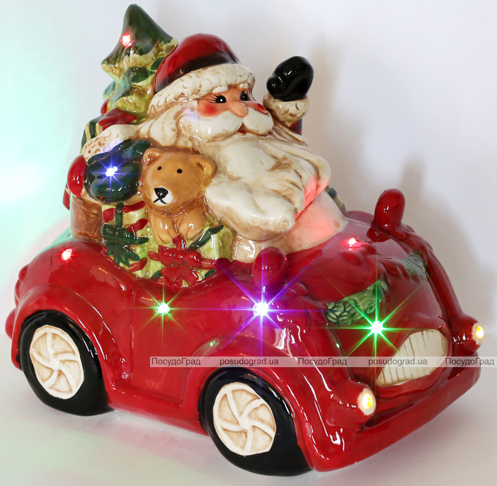 """Декор новогодний """"Санта в машине"""" 25х16.5х21.8см керамика с LED-подсветкой"""