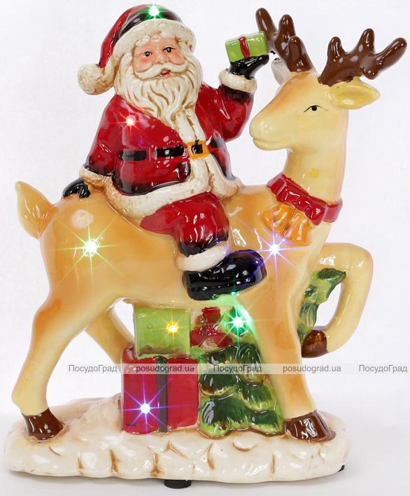 """Новогодняя музыкальная статуэтка """"Санта на олене"""" с LED-подсветкой 22.2х11х26.8см"""
