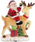 """Новорічна музична статуетка """"Санта на олені"""" з LED-підсвіткою 22.2х11х26.8см"""