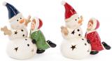 """Новорічна декоративна статуетка """"Сніговик з дитинкою"""" з LED-підсвіткою 12.9х8.6х14.2см"""