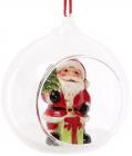 """Набір 2 новорічні декоративні підвіски """"Санта в кулі"""" 10х8.9х10.5см"""