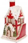 """Новорічний декор """"Цегляний будиночок"""" 19.3х18х31.5см з LED підсвіткою, кераміка"""