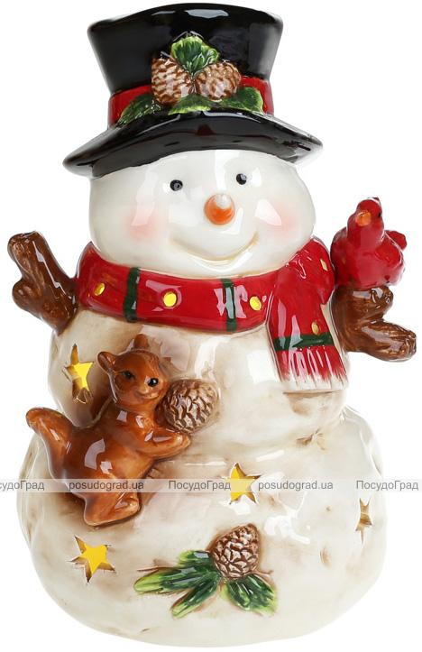 """Декоративная музыкальная статуэтка """"Снеговик"""" с LED-подсветкой 21.5см, керамика"""