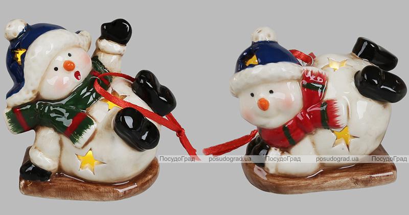 """Набір 4 новорічні декоративні підвіски """"Сніговики"""" 7х4.5х6см, з LED підсвічуванням"""
