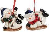 "Набор 4 новогодние декоративные подвески ""Снеговики"" 7х4.5х6см, с LED подсветкой"